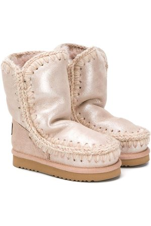 Mou Girls Ankle Boots - Metallic sheen eskimo boots