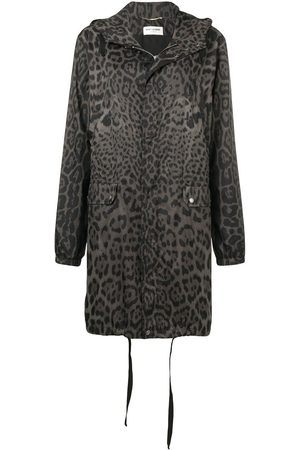 Saint Laurent Leopard print hooded parka - Grey
