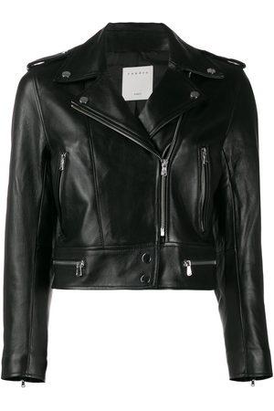Sandro Women Leather Jackets - Cropped biker jacket