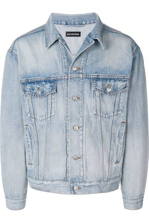 Balenciaga Men Denim Jackets - Logo denim jacket