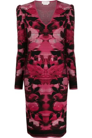 Alexander McQueen Women Bodycon Dresses - Blurred rose jacquard fitted dress