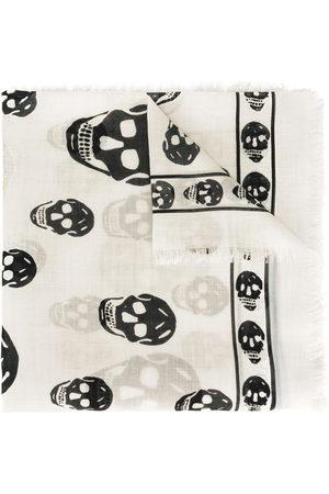 Alexander McQueen Women Scarves - Fringed skull-print scarf - NEUTRALS