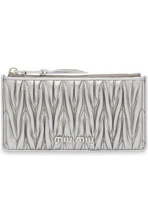 Miu Miu Women Wallets - Metallic Matelassé pouch - Grey