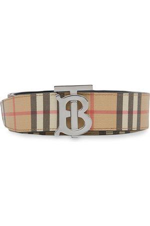 Burberry Reversible Monogram Motif Vintage Check Belt - Neutrals