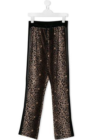 adidas TEEN leopard print track trousers