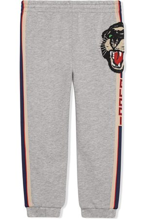 Gucci Girls Pants - Children's jogging pant with Gucci stripe - Grey