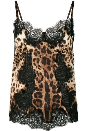 Dolce & Gabbana Lace-detail leopard-print satin top