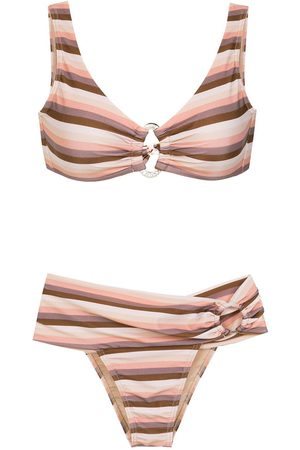 AMIR SLAMA Striped bikini - Neutrals