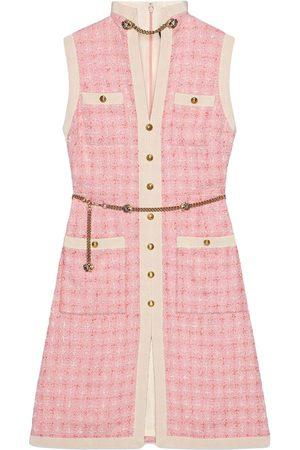 Gucci Women Dresses - Short tweed dress with chain belt