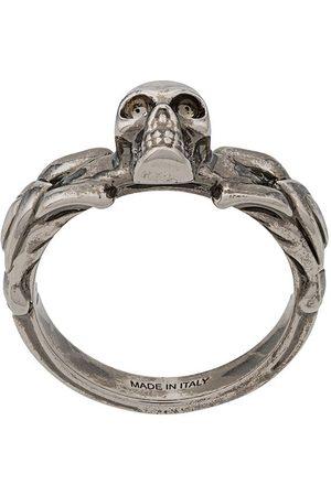 Alexander McQueen Men Rings - Skull-detail braided ring