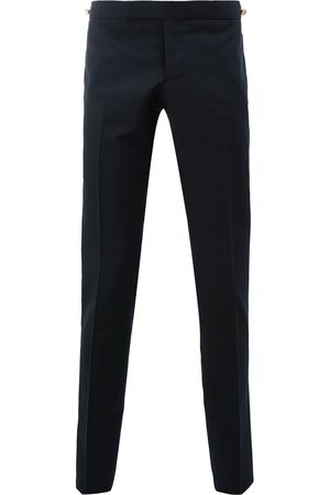 Thom Browne Men Formal Pants - Low Rise Skinny Trouser With Red, White And Selvedge Back Leg Placement In School Uniform Plain Weave