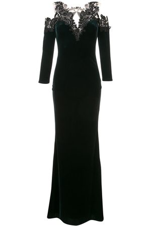 Marchesa Notte Cold-shoulder velvet gown