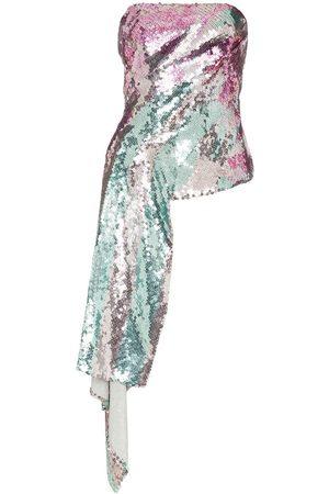 HALPERN Metallic sequinned draped strapless top