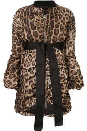 Giambattista Valli Leopard draped bomber jacket