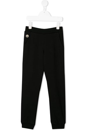 Philipp Plein Girls Sweatpants - Heart print studded track pants