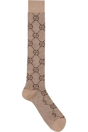 Gucci Lurex interlocking G socks - Neutrals