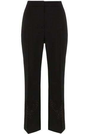 Stella McCartney Women Wide Leg Pants - Embroidered kick flare wool trousers