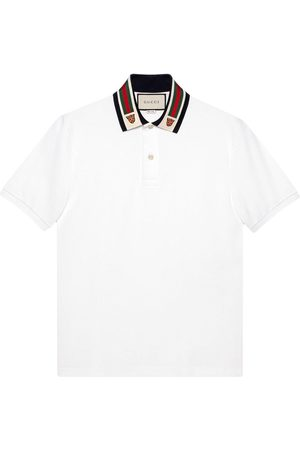 Gucci Men Polo Shirts - Web-detail polo shirt