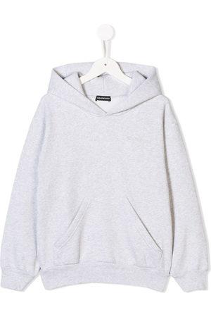 Balenciaga Logo embroidered hoodie - Grey