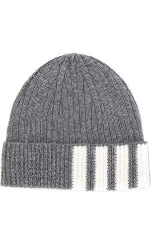 Thom Browne 4-Bar stripe cashmere rib beanie - Grey