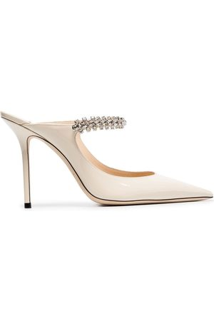 Jimmy Choo Linen white Bing 100 crystal anklet patent leather mules - Neutrals