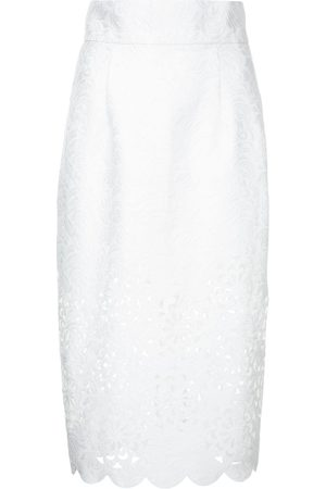 Bambah Cut out detail scalloped pencil skirt