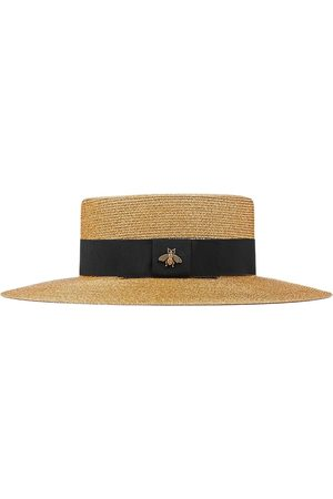 Gucci Bee-embellished boater hat
