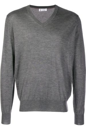 Brunello Cucinelli Men Sweaters - V-neck knit jumper - Grey