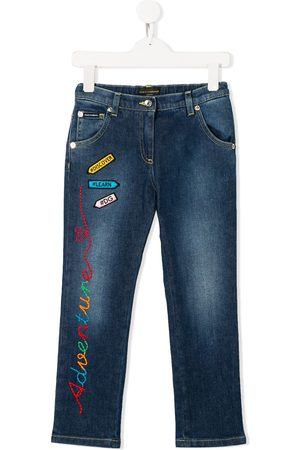 Dolce & Gabbana Girls Jeans - Embroidered patch jeans