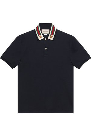 Gucci Men Polo Shirts - Cotton polo with Web and feline head