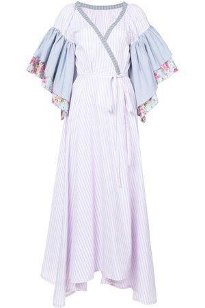 Natasha Zinko Women Party Dresses - Floral striped ruffle sleeve wrap dress