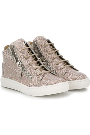 Giuseppe Zanotti Boys Sneakers - Crocodile effect hi-top sneakers