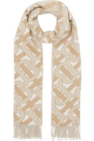 Burberry Scarves - Monogram fringed scarf - Neutrals