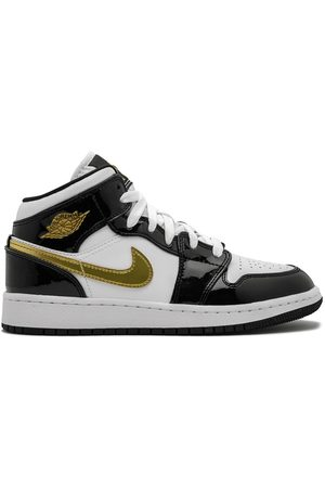 Nike Air Jordan 1 Mid SE (GS) gold patent leather