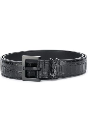 Saint Laurent Monogram crocodile-effect belt
