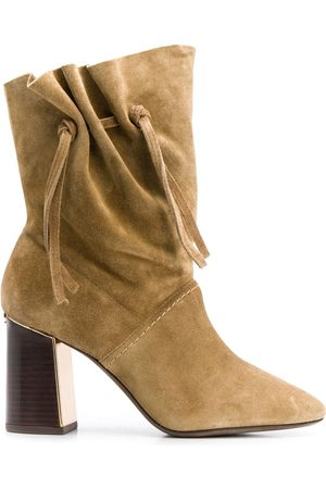 Tory Burch Gathered block heel boots - Neutrals