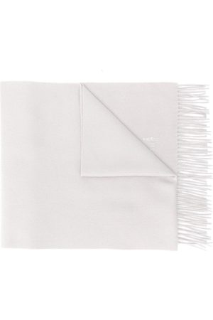 MACKINTOSH Greige Cashmere Embroidered Scarf | ACC-013/E - Grey