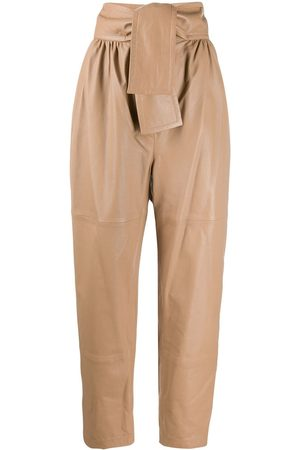 ZIMMERMANN Tapered leather trousers - Neutrals