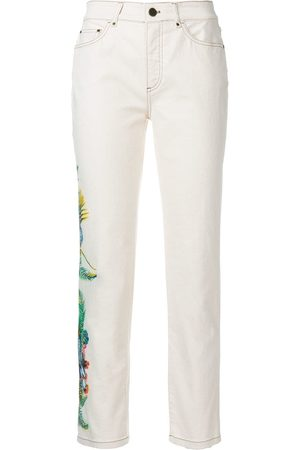 Mr & Mrs Italy Cropped floral detail jeans - Neutrals