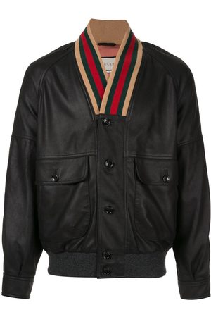 Gucci Men Leather Jackets - Web collar bomber jacket
