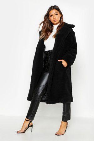 Boohoo Womens Oversized Teddy Faux Fur Coat - - 4