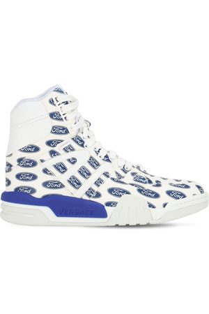 VERSACE Logo Printed Leather High Top Sneakers