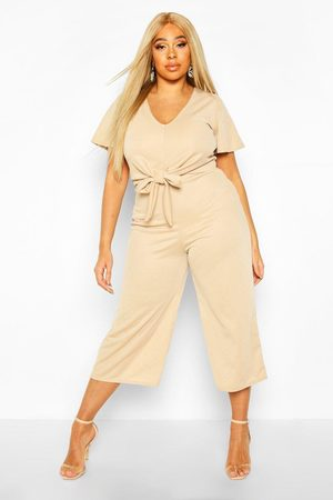 Boohoo Womens Plus Tie Front Angel Sleeve Culotte Jumpsuit - - 12