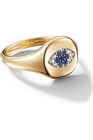 David Yurman 18kt yellow gold Cable Collectibles Evil Eye sapphire and diamond mini pinky ring - 88ABSBODI