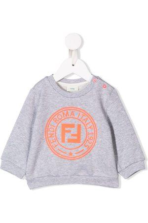 Fendi Hoodies - Contrast logo sweatshirt - Grey