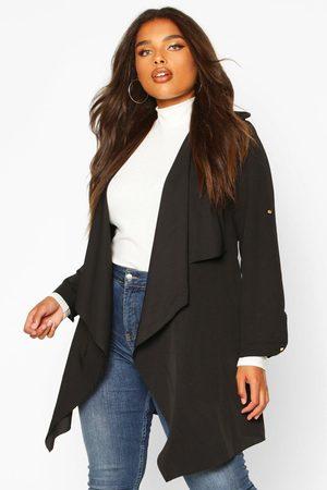 Boohoo Women Puffer Jackets - Womens Plus Waterfall Military Detail Belted Jacket - - 12