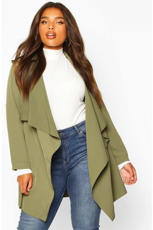 Boohoo Women Puffer Jackets - Womens Plus Waterfall Military Detail Belted Jacket - - 18