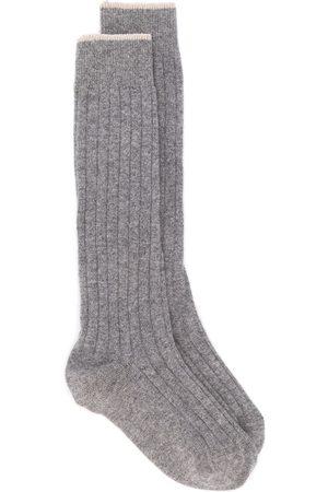 Brunello Cucinelli Men Socks - Ribbed socks - Grey