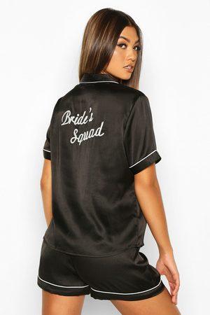 Boohoo Womens 'Bride Squad' Satin PJ Short Set - - 2