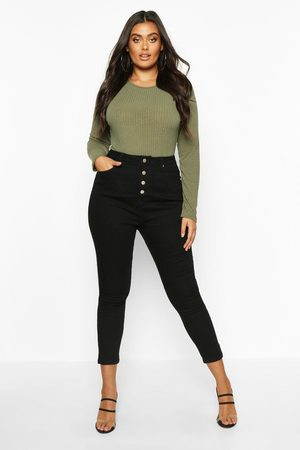 Boohoo Womens Plus Button Front High Waist Skinny Jeans - - 12